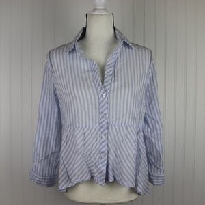 Love Notes Striped Button Down Top Size M